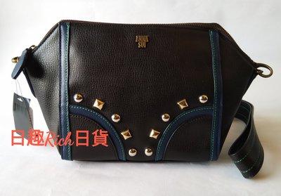 【 日趣rich日貨 】??日本全新正品 Anna Sui 黑色拼接藍色經典造型鉚釘 側背包 手拿包