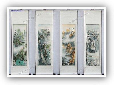 yes99buy加盟-愛新春夏秋冬四季山水畫四條屏字畫國畫水墨畫客廳裝飾畫送禮