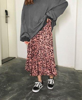 【黑店】秋冬豹紋百褶長裙 個性長裙百褶裙 壓褶豹紋長裙 個性穿搭歐美穿搭時尚豹紋長裙