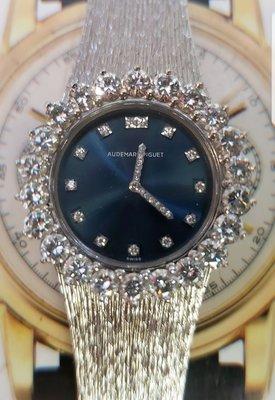 """超美品世界十大名錶""""AP""""原裝共鑲有2.2卡頂級鑽外圈18K白金閃爍藍面女裝手上鍊首飾腕錶((不議價),謝謝!"""