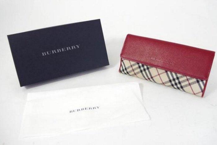 BURBERRY 格紋皮革長夾皮夾-有零錢袋(軍紅色)(9成新)日本購入(原價$19,500)