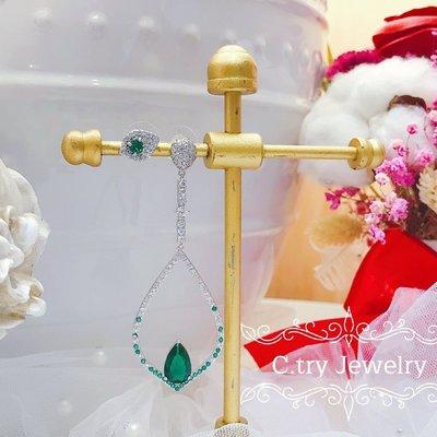 💎1253、(預購)華麗綠斐鑽微鑲真知之眼頂級晚宴耳環💎正韓飾品 耳環 珠寶 925純銀針 EE070