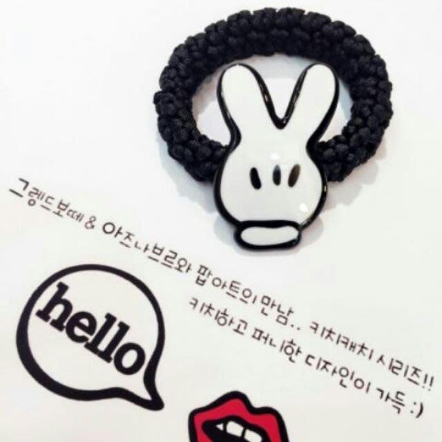 ☆橘子貓的918号店☆韓國飾品  GRAIN DE BEAUTE 可愛 米奇手套款 髮圈 髮飾