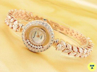 @(六四三精品)@Royal Crown(真品)全爪鑲晶鑽手錶.可滑動水鑽錶殼造型.珍珠貝殼錶面.