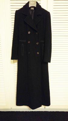 法國品牌 【SANDRO】深黑色雙排釦羊毛長大衣