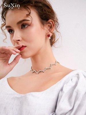 蘇心飾品短款波浪造型頸錬項錬女氣質清新韓版簡約森系短款鎖骨錬