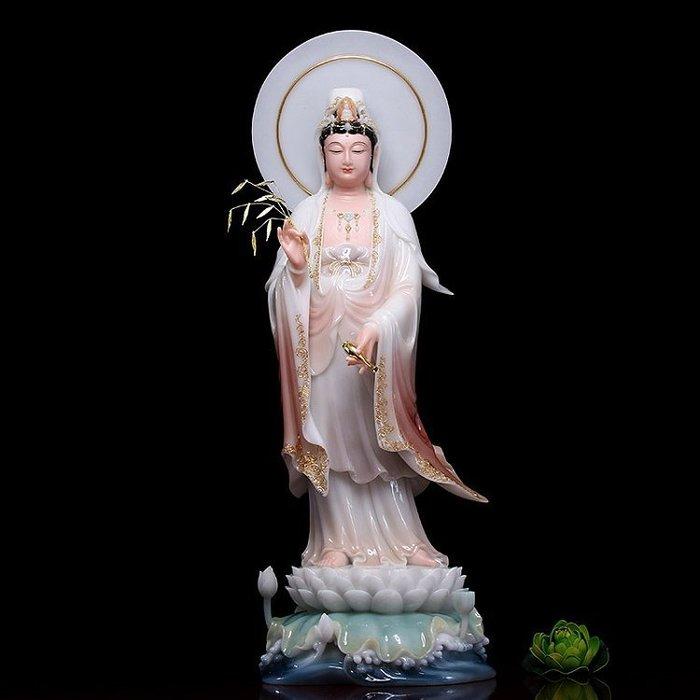 【玉寶軒】漢白玉佛像 西方三聖 南無觀世音菩薩 觀音菩薩 法像莊嚴(GA-3891)