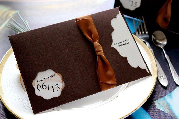 『潘朵菈精緻婚卡』影像設計喜帖 ♥ 緞帶22元喜帖系列♥ 喜帖編號:C-86005