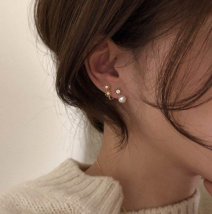FUDGE法橘 / 正韓 DAILY小巧圓鑽珍珠後扣耳環/925純銀針/LE20503
