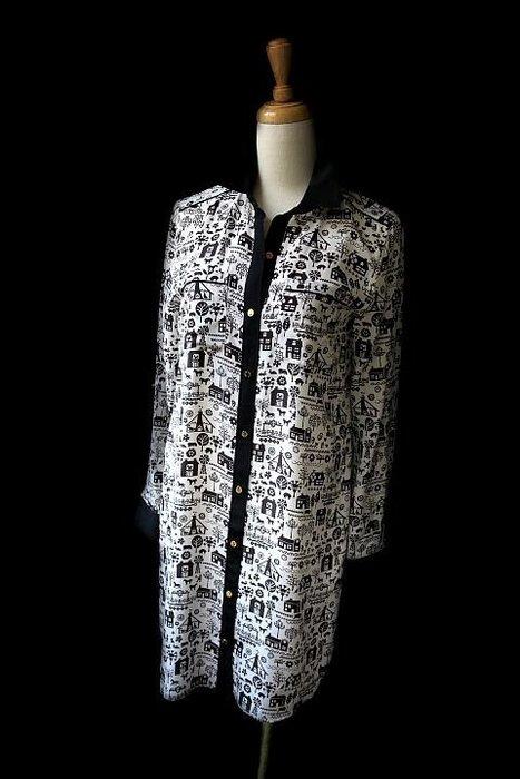 *Beauty*Juicy Couture黑領黑白印花襯衫領長袖洋裝 6990元WE16