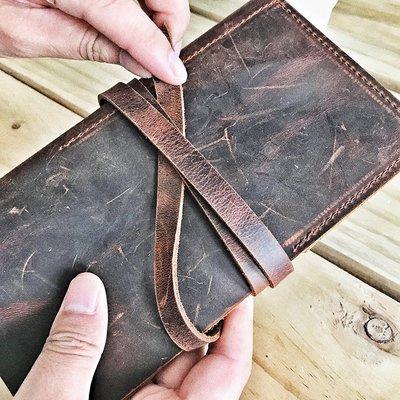 定制 男士手拿包皮質收納包錢包手機包頭層牛皮復古手包長款NXX118