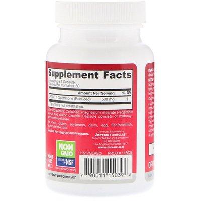 【Puritans美代購】Jarrow Formulas還原型谷胱甘肽500毫克60粒 Glutathione Reduced