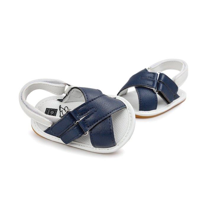 森林寶貝屋~膠底~時尚藍色休閒涼鞋~學步鞋~童鞋~寶寶鞋~幼兒鞋~學走鞋~粘扣設計~穿脫方便~彌月送禮~特價135元
