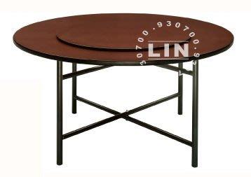 【品特優家具倉儲】R616-08餐桌圓鐵管餐桌/胡桃4尺