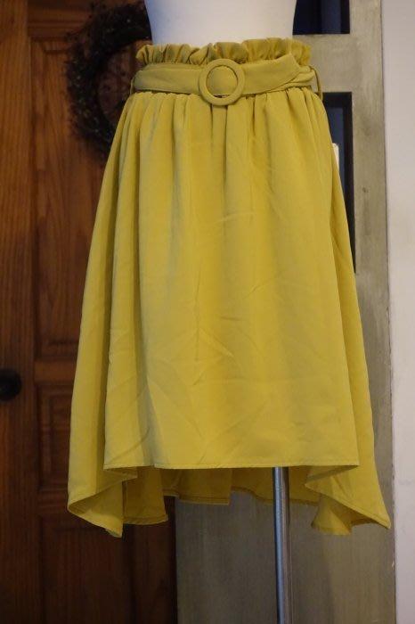 [C.M.平價精品館]均碼現貨特價/設計師精品專櫃/知性飄逸鬆緊腰圍附腰帶前短後長檸檬黃短裙