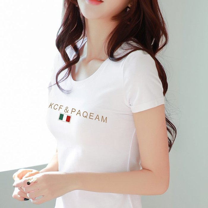 「印象家女裝」白色字母印花t恤女士夏季2019新款圓領修身韓版簡單時尚短款上衣女裝上衣 女短袖 女t恤 女新款t恤