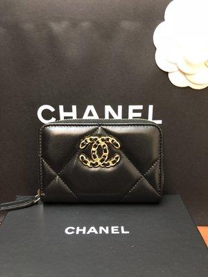 全新現貨 Chanel 19 系列 黑色 小羊皮 ㄇ字拉鍊 零錢包 卡包