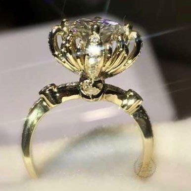 超低特價菊花女戒鑽戒3克拉 求婚 結婚 情人節禮物 925純銀鍍鉑金指環  視覺像4克拉 莫桑鑽寶