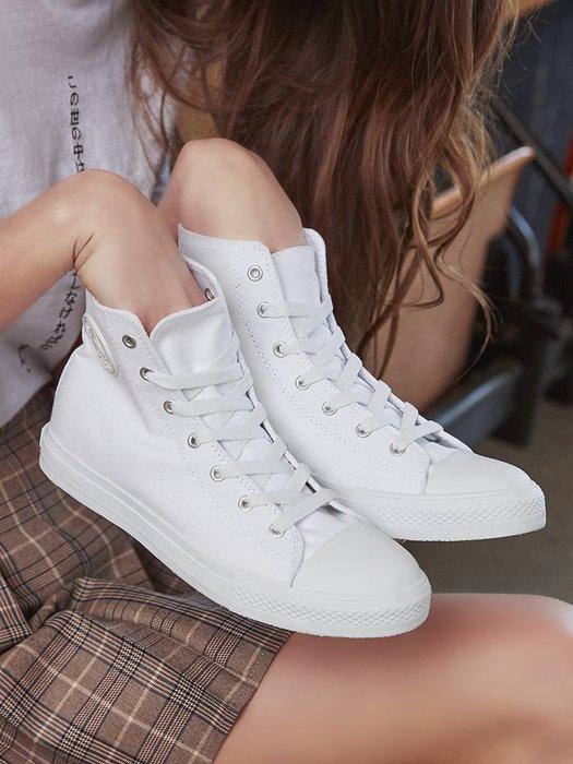 小白鞋女鞋夏季新款高幫帆布鞋女學生小白鞋休閑鞋板鞋韓版百搭鞋子