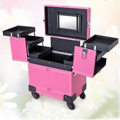 【優上】豪華萬向輪拉桿化妝箱拉桿箱專業大號多層收納箱紋繡工具箱粉色萬向輪加強版