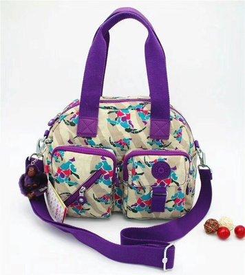 Kipling 猴子包 紫色花園 多夾層拉鍊款輕量手提肩背斜背包 限時優惠 防水
