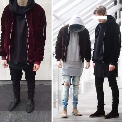 ∵ PRAY FOR FASHION ∴歐美街頭絨面寬鬆褶皺袖子外套棒球夾克bomber jacket