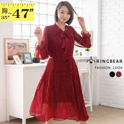 連身裙--可愛綁帶領口腰間繫帶百褶點點雪紡長袖過膝長洋裝(黑.紅XL-3L)-A423眼圈熊中大尺碼
