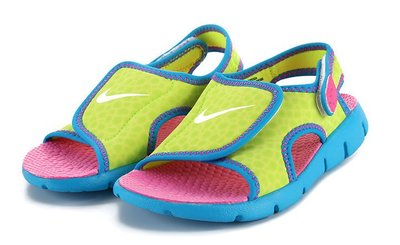 =CodE= NIKE SUNRAY ADJUST 4 BT TD 魔鬼氈涼鞋(螢光黃藍)386521-700.小童男女