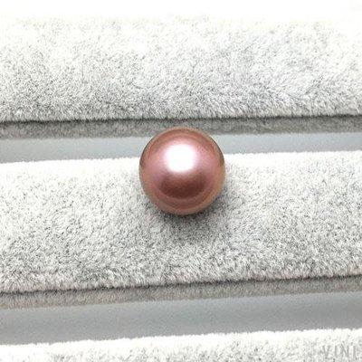 VINI 紫色粉色愛迪生珍珠14-15mm裸珠吊墜路路通轉運珠正圓強光裸珠