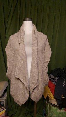 英國 名牌 LIZ JORDAN 米色無袖開襟羊毛(50%極細小羊毛 28%蠶絲)