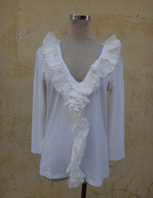 jacob00765100 ~ 正品 義大利製 D. EXTERIOR 白色 荷葉領 七分袖上衣 size: L