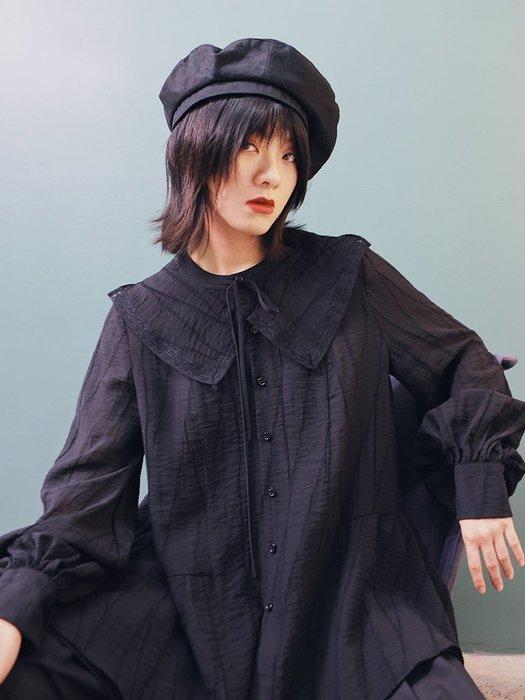 Dark.Q DQ 復古港味襯衫設計感大翻領燈籠袖黑襯衫