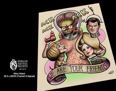 GOODFORIT / 加州Parlor Tattoo Mars Attacks星戰毀滅者刺青畫作/含框