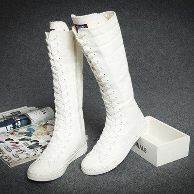 韓版女繫帶長筒布靴子春秋款高筒女靴子帆布鞋學生白色透氣女鞋潮