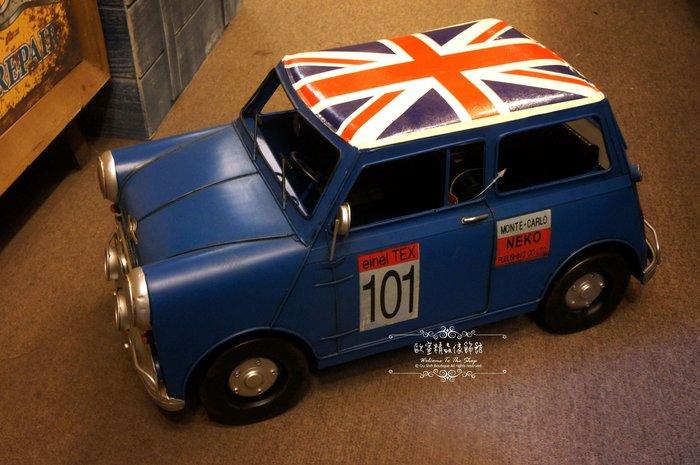 ~*歐室精品傢飾館*~ 美式鄉村Loft復古工業鐵件英國旗大福斯MINI汽車模型擺飾居家民宿布置~藍~新款上市~