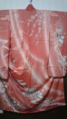 [兔尾屋和服專賣] 振䄂 淡紅色系花卉圖案