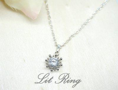 璀璨花朵鋯石墜子項鍊。Lit Ring手作 銀色 太陽 超閃亮水鑽 墜子 鎖骨鍊 短項鍊 手工飾品【Lit Ring】 高雄市