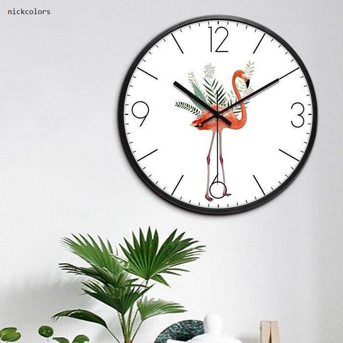 尼克卡樂斯~火烈鳥圓形細框靜音掛鐘  圓形靜音時鐘 餐廳掛鐘 咖啡廳時鐘 客廳臥室掛鐘 工業風掛鐘 北歐風掛鐘