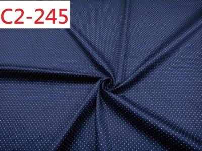 (特價10呎350元) 布料批發零售【CANDY的家2館】 C2-245 彈性純棉深黑藍白0.1cm水玉點點襯衫洋裝料
