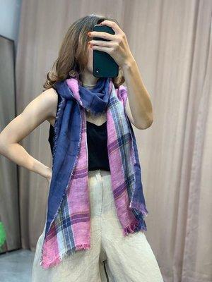 設計款時尚彩色格子細緻雙色拼接麻質圍巾/披肩(老銀屋)