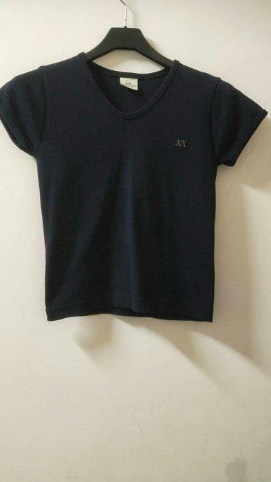 AX 深藍色 短版 萊卡棉T
