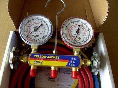 冷氣冷媒R-22.R-134.R-410錶組 YELLOW JACKET