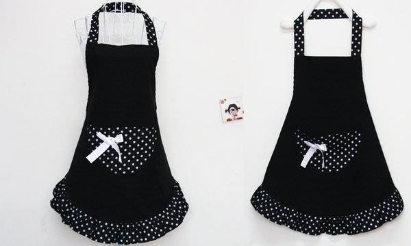【易發生活館】新品圍裙+袖套+頭巾 3件套 韓版時尚工作服 日本公主可愛純黑色公主裙 圍裙