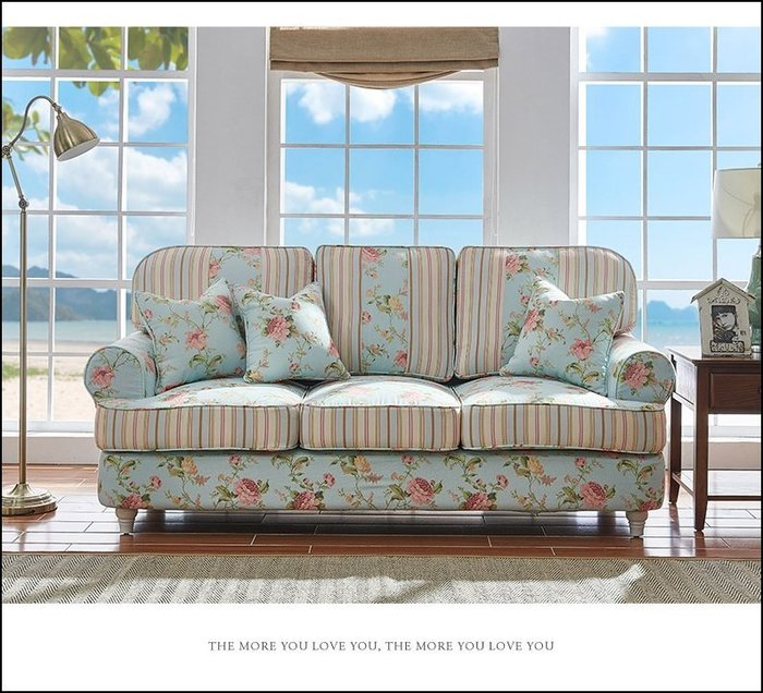 鄉村田園風 藍色玫瑰花條紋布三人座沙發 客廳椅附抱枕營業場所大廳椅另有主人椅貴妃椅雙人椅休閒椅邊椅 可拆洗 【歐舍傢居】