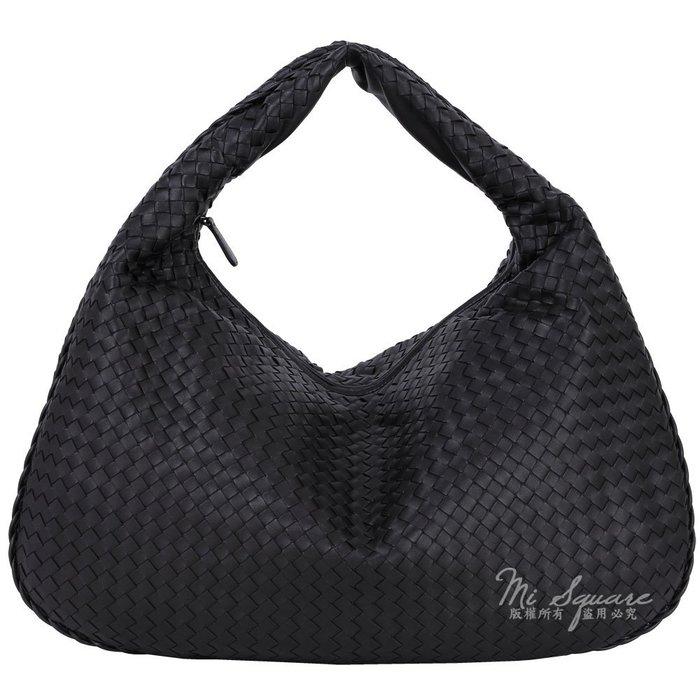 米蘭廣場 BOTTEGA VENETA Intrecciato Maxi小羊皮編織肩背包(大/黑色)1530277-01