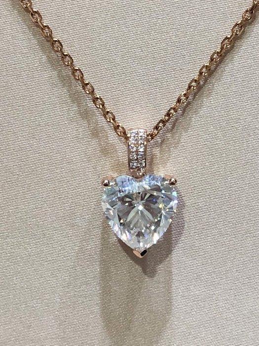 豪華心型5克拉18K金玫瑰金鑽石項墜 (莫桑石、摩星鑽 生日禮物 定情 鑽石品質)