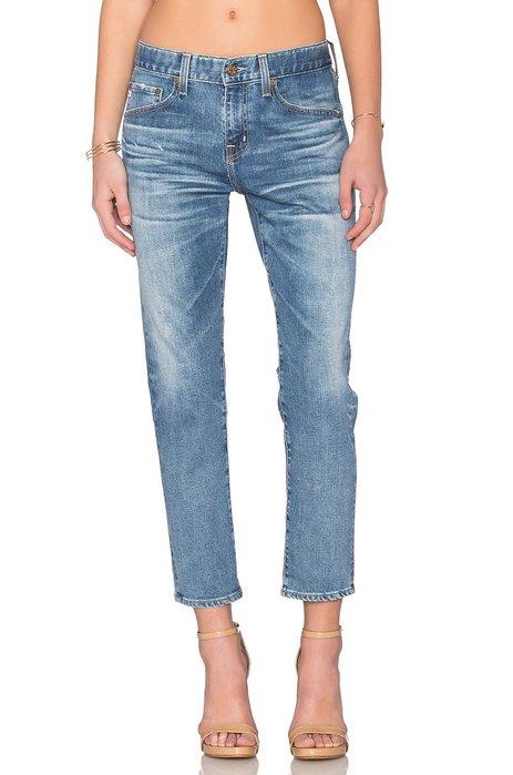 ◎美國代買◎AG EX BOYFRIEND SLIM淺藍波紋刷色顯廋男朋友七分牛仔褲