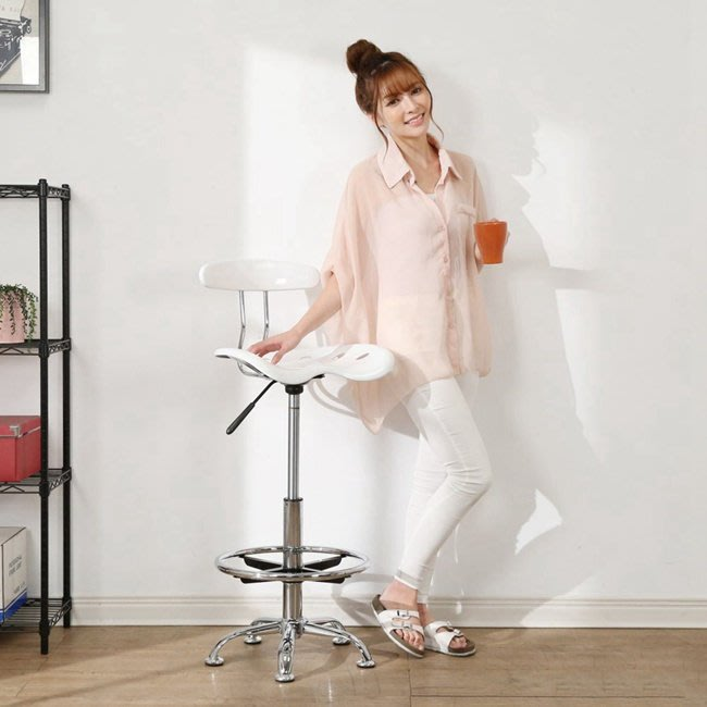 書房 臥室 餐廳 【居家大師】流行曲線一體成型吧台椅 I-EB-CH168WH 吧台椅 高腳椅 餐椅