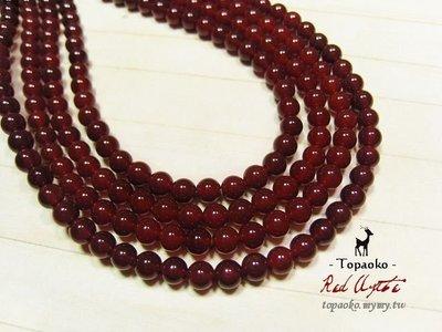 《晶格格的多寶格》串珠材料˙天然石配件 天然紅玉髓/紅瑪瑙4mm圓珠一份(95P)【S306-04】條珠/佛珠