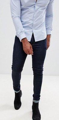 ◎美國代買◎ASOS合身顯廋剪裁經典百搭款英倫時尚街風深藍百搭顯廋合身牛仔褲~歐美街風~大尺碼